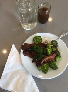 Brisket, broccoli, bone broth and water. Yummy!